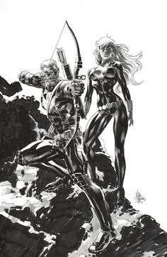 Black Widow and Hawkeye by Mike Deodato Jr.