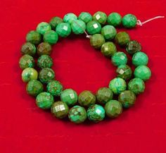 257 Cts.  Natural 8x8mm Faceted Tibetan Turquoise Beads Strand Cut (NH297) #NagmaGems