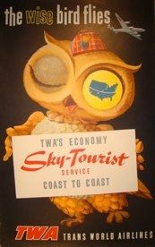 "David Klein Sky-Tourist Poster—Lithograph 25"" x 40"" Fabulous 50s and 60s travel posters"