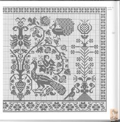 Chart 2of2; Gallery.ru / Фото #140 - цветочные узоры - anapa-mama Cross Stitch Sampler Patterns, Blackwork Patterns, Cross Stitch Borders, Cross Stitch Samplers, Cross Stitch Charts, Cross Stitching, Cross Stitch Embroidery, Embroidery Patterns, Filet Crochet Charts