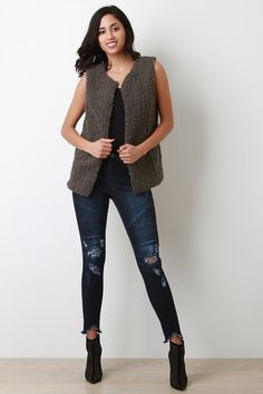 This sleeveless vest features a plush curl texture knit construction, seamless open front with hook-n-eye clasp closure, hidden side pockets, and fully lined. Accessory sold separately. 100% Polyester. Measurement Size Bust Hem Length S 34 18 26 M 36 19 27 L 38 20 28 Knit Vest, Curls, Plush, Construction, Closure, Skinny Jeans, Pockets, Texture, Knitting