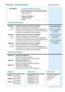 Plantillas de Currículum Vitae Cronológico: Modelo 4