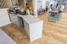 Woodhouse removed the original marketing suite of Ashton House and inserted a café in lieu, creating one large open space combined with the reception, building on volume and light. Cafe House, Minimal Design, Being A Landlord, Rid, Finger, Reception, Marketing, The Originals, Space