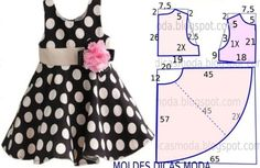 Risultati immagini per vestidos infantis Baby Girl Dress Patterns, Baby Clothes Patterns, Dress Sewing Patterns, Little Girl Dresses, Clothing Patterns, Baby Dresses, Princess Dress Patterns, Baby Pants Pattern, Peasant Dresses