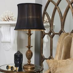 This table lamp by Modish Living is a dark seductive and elegant lamp, perfect for adding a touch of glamour to the your room. The Martino Table Lamp features a beautifully decorative antique golden base with a black fluted drum shade. Black Table Lamps, Gold Table, Lamp Table, Industrial Design Furniture, Industrial Office, Industrial Restaurant, Vintage Table, Contemporary, Modern
