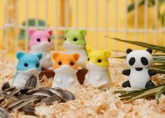 hamster & panda erasers
