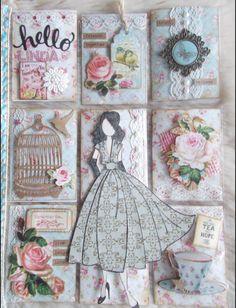 Vintage Prima Doll by CJ Prima Paper Dolls, Prima Doll Stamps, Vintage Paper Dolls, Vintage Crafts, Scrapbook Paper Flowers, My Scrapbook, Scrapbook Paper Crafts, Pocket Scrapbooking, Atc Cards