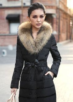 Amazing Black High Waist Down Jackets with Animal Fur
