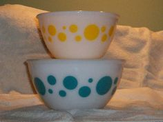 Hazel Atlas Federal Yellow Blue Turquoise by thetrendykitchen, $55.00