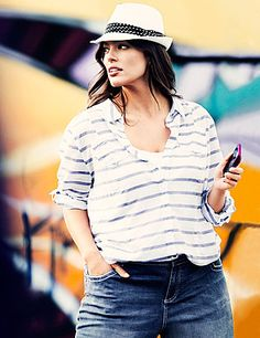 Show your stripes in our Striped Double Pocket Shirt, a classic shirt that offers endless versatility! #LaneBryant