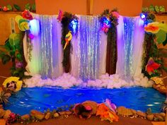 Water Fall made by a friend on the decor team did an amazing job of creating a realistic looking waterfall in our church lobby.