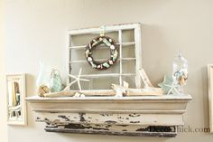 You don't need a fireplace to have a coastal summer mantel -just a shelf!