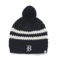 Detroit Tigers Navy Kendall Beanie Knit 47 Brand Womens Hat a5014bc68923