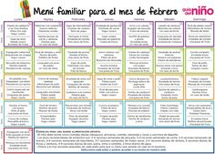 Menú mensual febrero Lunch Count, Menu Dieta, Kids Menu, Weekly Menu, Planner Organization, School Lunch, Food Preparation, Organic Recipes, Baby Food Recipes