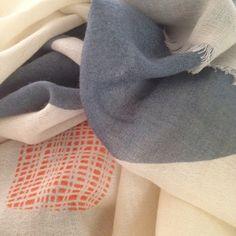 PilgrimWaters Boulder cloud scarf.Hand woven adm pritned  Both isn a60% cashmere adn 40% merino or 100 % merino