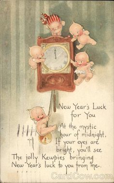 quenalbertini: Vintage New Year Card - Kewpies, Rose O'Neill Art Vintage Greeting Cards, Vintage Christmas Cards, Vintage Ephemera, Vintage Holiday, Christmas Images, Christmas Art, Retro Christmas, Vintage Happy New Year, Happy New Year Cards