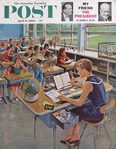Teacher Making Vacation Plans - Saturday Evening Post - Ben Prins Art - April, 1960