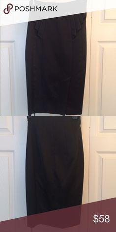 Karen Millen Skirt High waisted satin Karen Millen skirt with small slit in front.   Waist 24-25.   Hip 33-34. Karen Millen Skirts