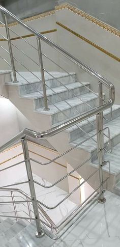 Stainless Steel Stair Railing, Steel Railing Design, Carport Canopy, Home Stairs Design, Glass Stairs, Steel Stairs, Main Gate, Small Living Room Design, Stairs Architecture