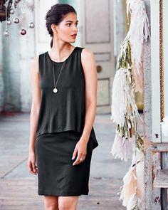 Double-Layer Back-Detail Knit Dress