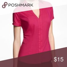 Express Kissing Placket Essential Shirt Vibrant button down perfect for business and pleasure. Includes cute clasp accents on the sleeves! Express Tops Button Down Shirts