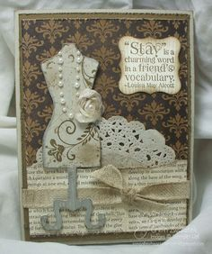 """My ABSOLUTE favorite (so far) """"dress"""" card!.  Check it out!  Vintage Dress Form Card"""