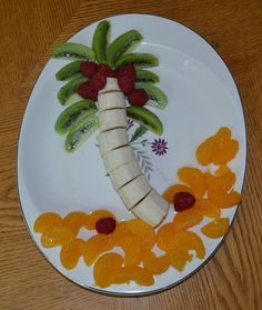 Coconut tree made out of fruit