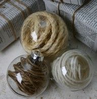 Christmas ornaments. Glass ornaments filled with the color yarn of your choice, would look great with sari silk!