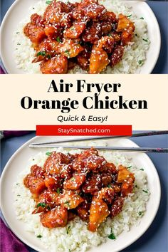 This Easy Keto Low Carb Orange Chicken is the perfect meal for healthy take-out at home! This sugar-free version can be made with either juicy chicken thighs or breasts and is drizzled with a decadent sauce and tossed with sesame seeds. Diet Dinner Recipes, Delicious Dinner Recipes, Diet Recipes, Chicken Recipes, Healthy Recipes, Keto Dinner, Copycat Recipes, Healthy Foods, Air Fryer Healthy