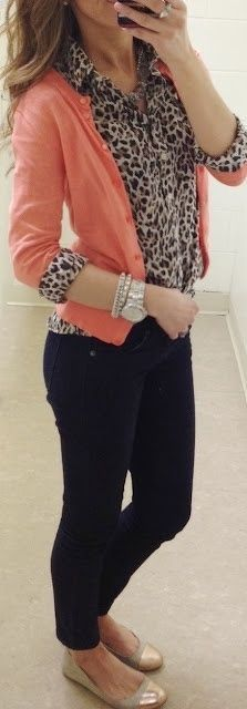 Ideas for a casual work outfit. I love the leopard print blouse w/ the bright cardigan over it. :) I have jeans like these in a few colors and the cardigan in a few colors. Mode Outfits, Fashion Outfits, Coral Cardigan, Coral Blazer, Pink Sweater, Colored Blazer, Mein Style, Animal Print Blouse, Animal Prints