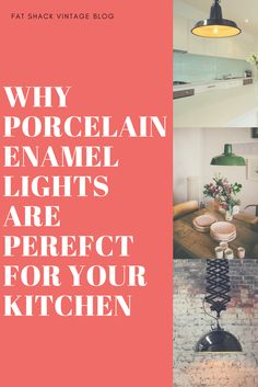 Why Porcelain Enamel Lights Are Perfect For Your Kitchen Industrial Interior Design, Industrial Interiors, Vintage Industrial, Cool Lighting, Lighting Ideas, Mid Century Modern Lamps, Kitchen Lighting Design, Kitchen Colors, Enamel
