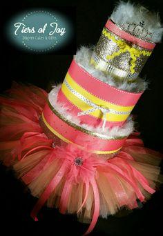 3 Tier Princess DIAPER CAKE w/ gold tiara | coral tutu skirt | coral   | Tiersofjoy -  on ArtFire