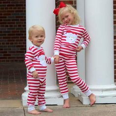 f28d4d3664 Red Striped Knit Applique Santa Loungewear - Girls Smocked Auctions  Matching Pjs