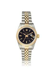Rolex Women's Datejust Black Stainless Steel/18K Gold Watch