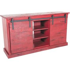 Show Details For Barn Door 62 Tv Console Burned Red