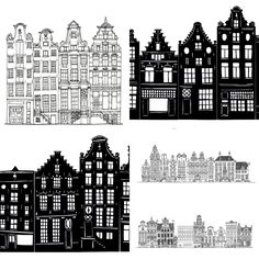 Drawings of buildings in a row simple black and white for Architecture firm amsterdam