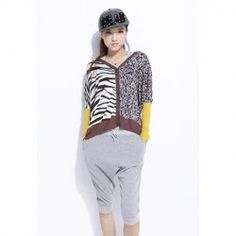$10.09 Plus Size V-Neck Zebra-Stripe Leopard Print Batwing Sleeve Spring Coats For Women