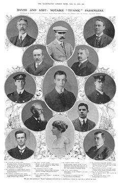 A montage of portraits of survivors and victims: mainly first-class passengers but also two second-class and two crew members. Please note that the gentleman in the photograph labelled '9' is not, in fact, William E. Carter of Philadelphia - although the sole woman depicted is certainly the well-known socialite Mrs Carter (nee Lucile Polk).
