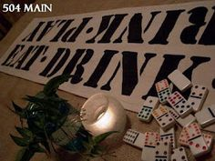 504 Main by Holly Lefevre: DIY! Game Night Typography Table Runner - take this idea for wine tasting decor!