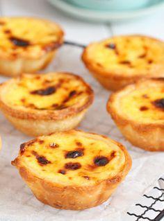 my bare cupboard: Portuguese Egg Tarts Recipe Portugese Custard Tarts, Portuguese Egg Tart, Portuguese Desserts, Portuguese Recipes, Tart Recipes, Sweet Recipes, Baking Recipes, Dessert Recipes, Custard Desserts