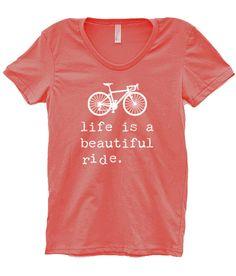 Women's LIFE IS a BEAUTIFUL Ride Bike T- Shirt Jersey, Bicycle Shirt - Custom Bicycle Clothing - Typography