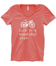 Women's LIFE IS a BEAUTIFUL Ride Bike T- Shirt Jersey, Bicycle Shirt - Custom Bicycle Clothing - Typography