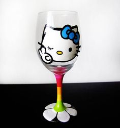 peace love and hello kitty wink wine glass   (Last week to order for delivery before Christmas)