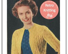 1950's Contrasting Twin Set Knitting Pattern - PDF Instant Download
