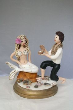 Mermaid and Prince bride and groom Wedding cake by CrimsonMuse