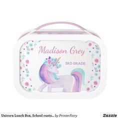 Shop Unicorn Lunch Box, School custom Lunchbox created by PrinterFairy. Metal Lunch Box, Unicorn Party, Unicorns, Markers, Back To School, Plastic, Ideas, Shopping, Sharpies