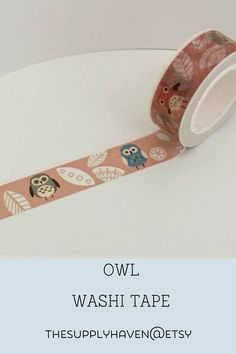 Kawaii Owl Washi Tape Single Roll Rose Pink 15mm x 10. Great for scrapbooking and bullet journals. BUJO and stationary addict perfect gifts.
