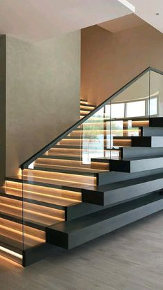 Staircase Railing Design, Home Stairs Design, Interior Stairs, Home Room Design, Modern House Design, Home Interior Design, Staircase Design Modern, Stair Design, House Stairs