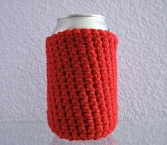 Can Cover Cozy  Bright Red by NanaLetha on Etsy