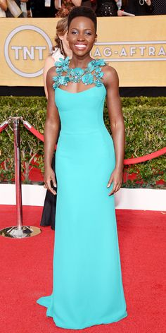 SAG 2014 Red Carpet Arrivals - Lupita Nyong'o from #InStyle this dress looks amazing with her skin tone!#lovelylupita